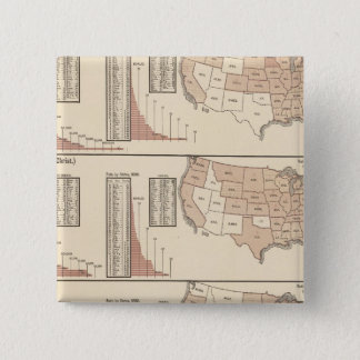 United States lithographed maps 15 Cm Square Badge