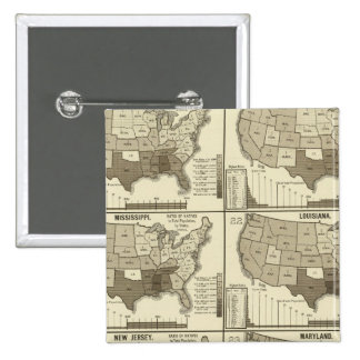 United States lithographed maps 2 15 Cm Square Badge