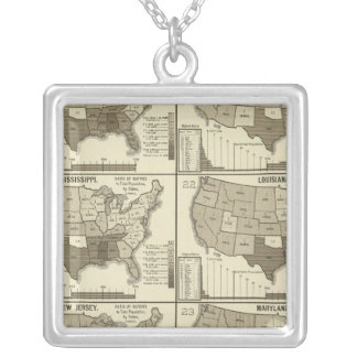 United States lithographed maps 2 Silver Plated Necklace