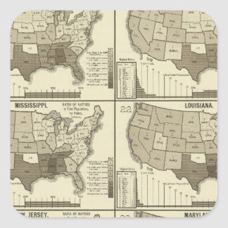 United States lithographed maps 2 Square Sticker