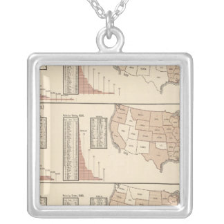 United States lithographed maps Silver Plated Necklace