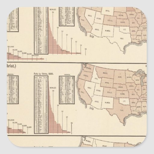 United States lithographed maps Square Stickers