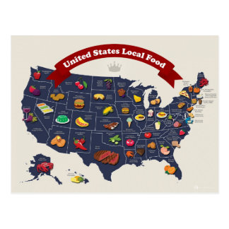 United States Local Food Map Postcard