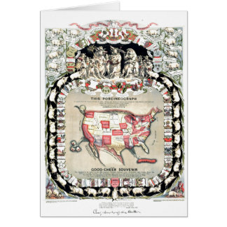 United States Map 1876 Greeting Card