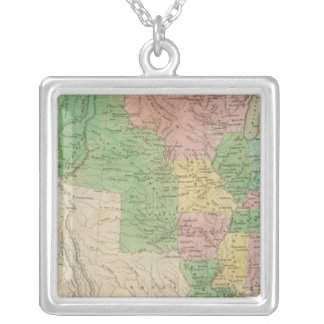 United States Map 2 Silver Plated Necklace