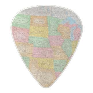 United States Map 3 Acetal Guitar Pick