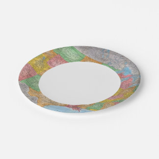 United States Map 3 Paper Plate