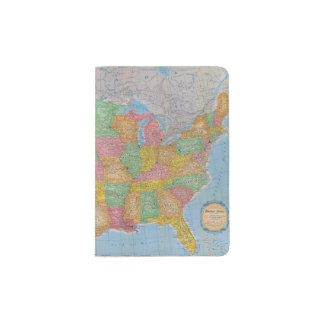 United States Map 3 Passport Holder