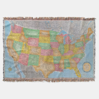 United States Map 3 Throw Blanket