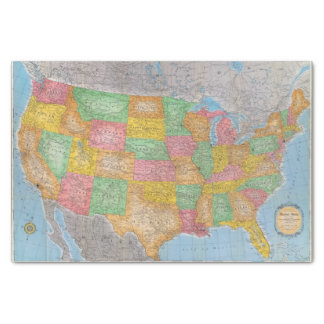 United States Map 3 Tissue Paper