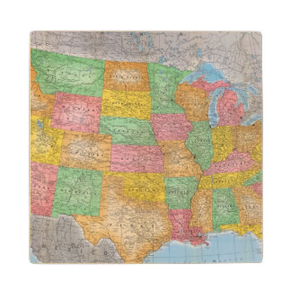 United States Map 3 Wood Coaster