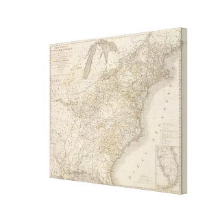 United States Map showing settlements Stretched Canvas Print