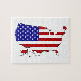 United States Map & Stars-N-Stripes Flag Jigsaw Puzzle