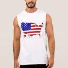 United States Map & Stars-N-Stripes Flag Sleeveless Shirt