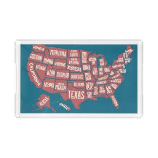 United States Map | Typography Acrylic Tray