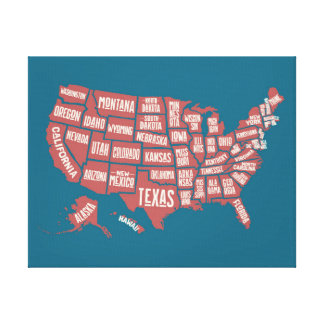 United States Map | Typography Canvas Print