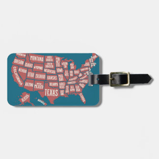 United States Map   Typography Luggage Tag