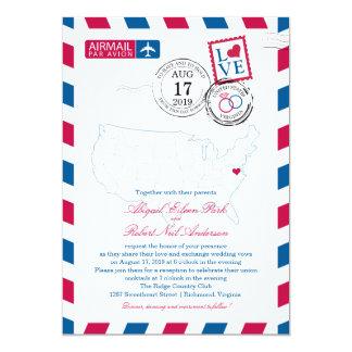 United States Map Virginia USA Airmail | Wedding 13 Cm X 18 Cm Invitation Card
