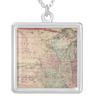 United States Map with Pony Express Route Silver Plated Necklace