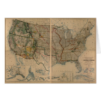United States Map with Territories (1923) Greeting Card