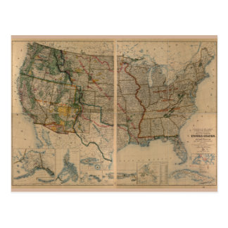 United States Map with Territories (1923) Postcard
