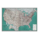 United States Maps, Printed Road Map Poster