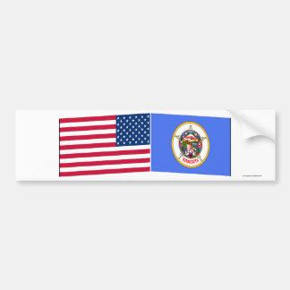 United States & Minnesota Flags Bumper Sticker