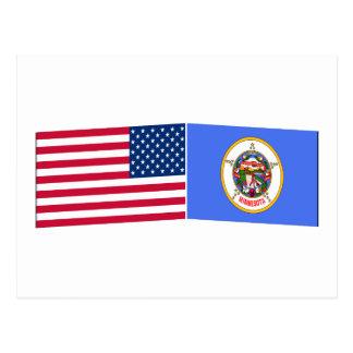 United States & Minnesota Flags Postcard