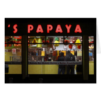 United States, New York. Gray's Papaya: window Card