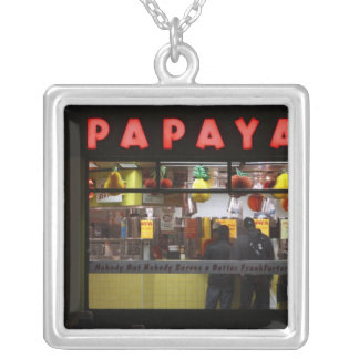 United States, New York. Gray's Papaya: window Silver Plated Necklace