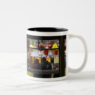 United States, New York. Gray's Papaya: window Two-Tone Coffee Mug