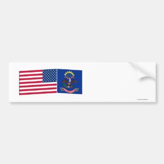 United States & North Dakota Flags Bumper Stickers