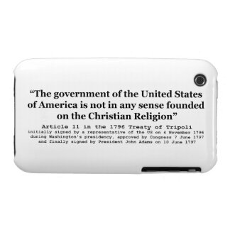 United States Not Founded on Christian Religion iPhone 3 Covers