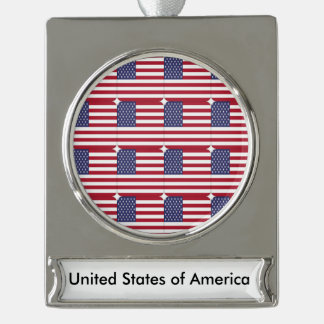 United States of America American Flag Ornament Silver Plated Banner Ornament