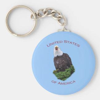 United States of America Basic Round Button Key Ring