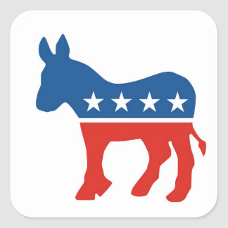 united states of america democrat party donkey usa square sticker
