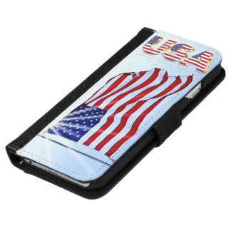 United States of America flag in the wind iPhone 6 Wallet Case