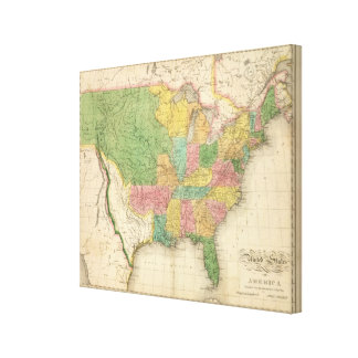 United States of America History Map Canvas Print