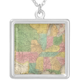 United States of America History Map Silver Plated Necklace