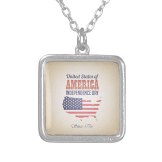 United States of America Independence Day Silver Plated Necklace