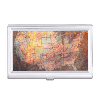 United States of America Map Business Card Holder