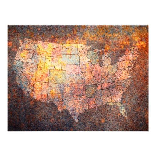 United States of America Map Photo Art