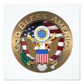 United States of America Seal - God Bless America 13 Cm X 13 Cm Square Invitation Card