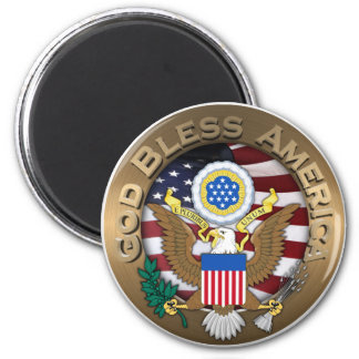 United States of America Seal - God Bless America 6 Cm Round Magnet