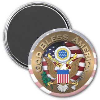 United States of America Seal - God Bless America 7.5 Cm Round Magnet