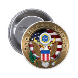 United States of America Seal - God Bless America 6 Cm Round Badge