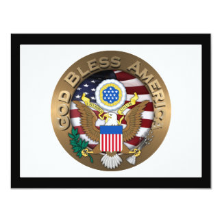 "United States of America Seal - God Bless America 4.25"" X 5.5"" Invitation Card"
