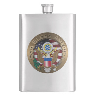 United States of America Seal - God Bless America Hip Flasks