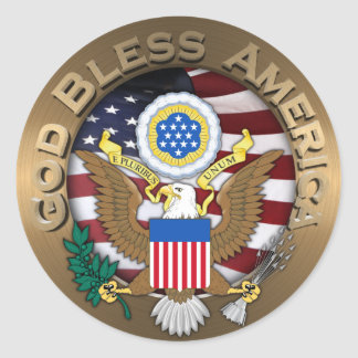 United States of America Seal - God Bless America Round Sticker