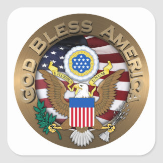 United States of America Seal - God Bless America Square Sticker